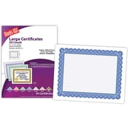 "Blanks/USA® 8 1/2"" x 11"" 60 lbs. Offset Large Certificate With Blue Border, White, 50/Pack"