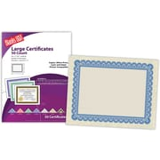 "Blanks/USA® 8 1/2"" x 11"" 60 lbs. Astroparche Large Certificate With Blue Border, Natural, 50/Pack"