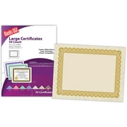 "Blanks/USA® 8 1/2"" x 11"" 60 lbs. Astroparche Large Certificate With Gold Border, Natural, 50/Pack"