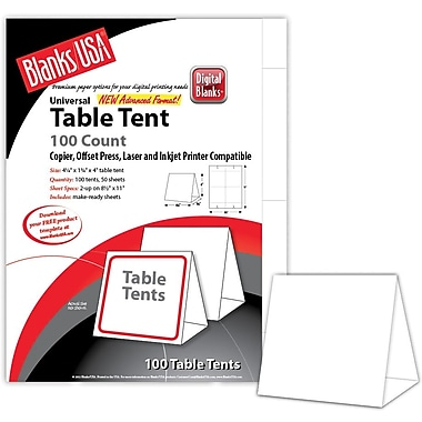 Table Tents Staples - Standard table tent size