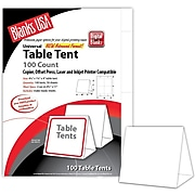 """Blanks/USA 4 1/4"""" x 4"""" 90 lbs. Table Tent, White, 100/Pack"""