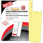 "Blanks/USA® 2 3/4"" x 8 1/2"" Numbered 01-500 Digital Index Cover Raffle Ticket, Yellow, 125/Pack"