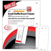 "Blanks/USA® 2 1/8"" x 5 1/2"" Numbered 01-400 Digital Gloss Cover Raffle Ticket, White, 50/Pack"