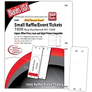"""Blanks/USA® 2 1/8"""" x 5 1/2"""" Numbered 01-1000 Digital Index Cover Raffle Ticket, White, 125/Pack"""