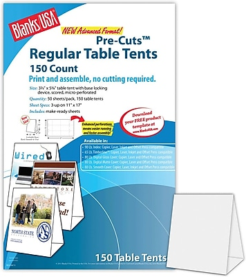 """""Blanks/USA 3.67"""""""" x 3 1/8"""""""" x 5 3/8"""""""" 80 lbs. Table Tent, Gray, 150/Pack"""""" 195363"