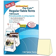 """Blanks/USA® 3.67"""" x 3 1/8"""" x 5 3/8"""" 80 lbs. Table Tent, Natural/Ivory, 150/Pack"""