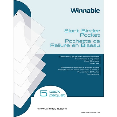 Winnable Poly Slant Binder Pockets, Clear, 5/Pack