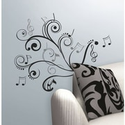 RoomMates Music Note Scroll Peel and Stick Wall Decal, Black/Silver