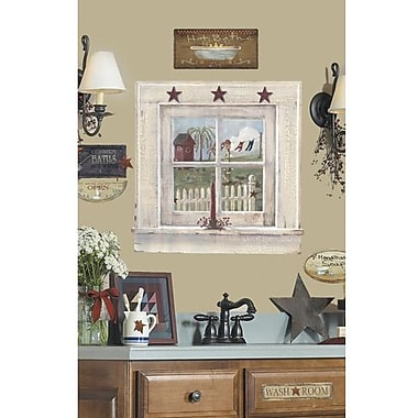 RoomMates Outhouse Window and Signs Peel and Stick Giant Wall Decal