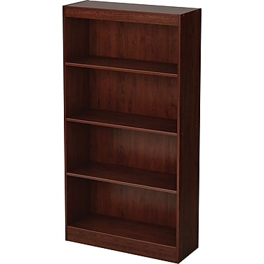 South Shore Work ID 4-Shelf Wood Bookcase, Royal Cherry