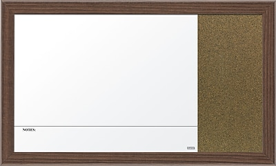 Quartet Magnetic Combination Bulletin Board, Walnut Frame, 18
