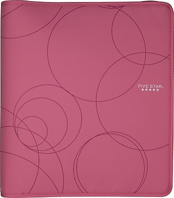 Five Star 1.5-Inch Round 3-Ring Zipper Binder, Pink (72362)
