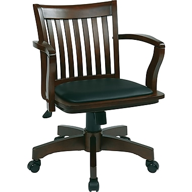 Office Star Space Wood Bankers Office Chair Fixed Arms Black