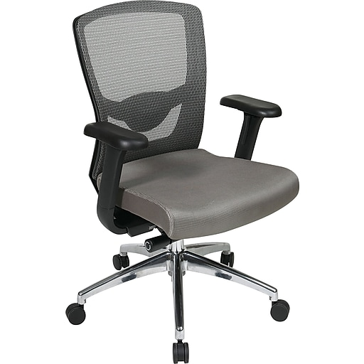 Office Star® Pro-Line II™ ProGrid® Fabric/Mesh High Back Executive Chair, Grey