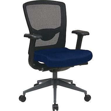 Office Star Proline II Fabric Executive Office Chair, Adjustable Arms, Blue (511343AT-225)