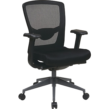 Office Star Proline II Fabric Executive Office Chair, Adjustable Arms, Black (511343AT-231)