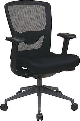 Office Star High-Back Fabric/Mesh Executive Chair, Adjustable Arms, Black