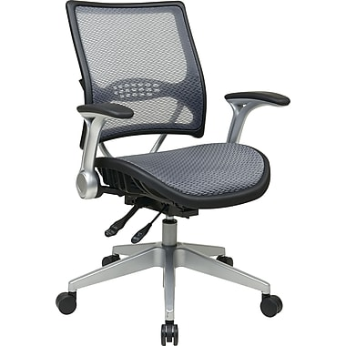 Office Star SPACE Mesh Managers Office Chair, Adjustable Arms, Gray (67-66N69R5)