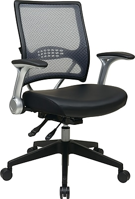Office Star SPACE Leather Managers Office Chair, Adjustable Arms, Black (67-E36N69R5)