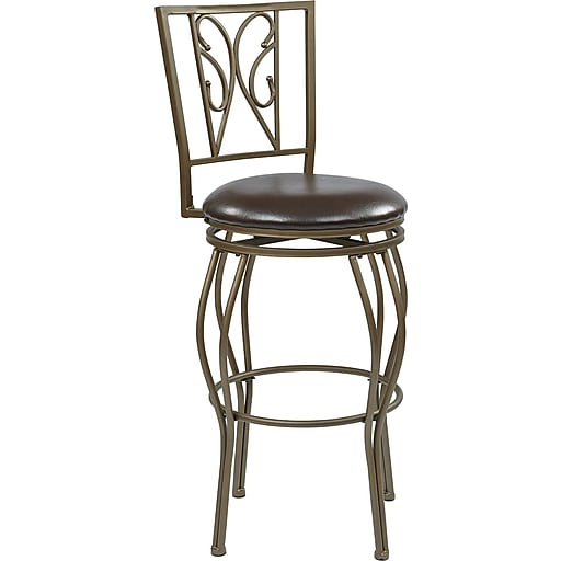"""Office Star OSP Designs 30"""" Faux Leather Cosmo Metal Swivel Bar Stool, Espresso flux leather"""