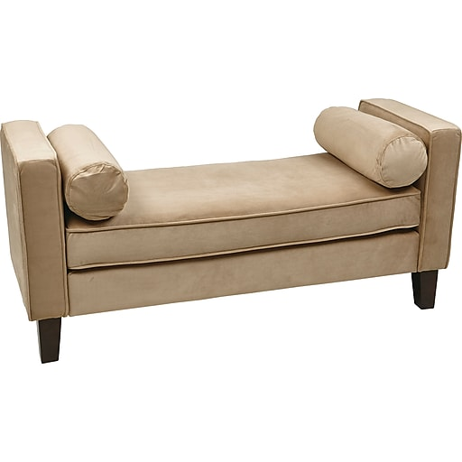 Office Star Ave Six® Wood/Fabric Curves Bench, Coffee Velvet