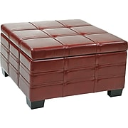 Office Star Ave Six® Leather Detour Strap Ottoman With Tray, Crimson Red