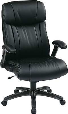 Office Star WorkSmart Leather Executive Office Chair, Adjustable Arms, Black (ECH38675A-EC3)