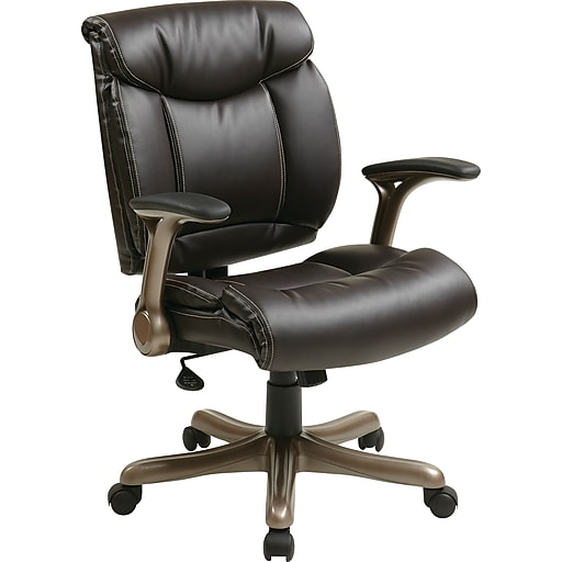 Office Star Work Smart™ Eco Leather Mid Back Executive Chair With Cocoa Padded Flip Arms, Espresso