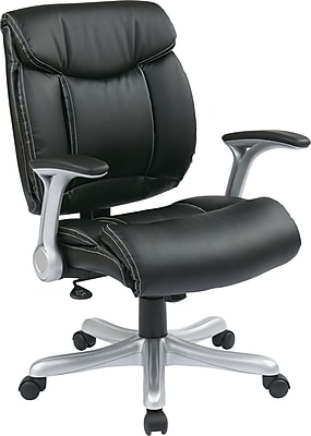 Office Star Eco Leather Executive Office Chair, Adjustable Arms, Black (ECH8967R5-EC3)