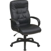 Office Star WorkSmart Leather Executive Office Chair Black (FL7480-U6)