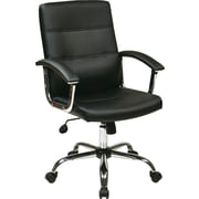 Office Star Ave Six Leather Executive Office Chair, Adjustable Arms, Black (MAL26-BK)