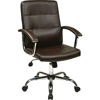 Office Star Ave Six Leather Executive Office Chair, Adjustable Arms, Espresso (MAL26-ES)