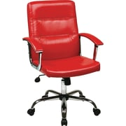 Office Star Ave Six Leather Executive Office Chair, Adjustable Arms, Red (MAL26-RD)