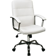 Office Star Ave Six Leather Executive Office Chair, Adjustable Arms, White (MAL26-WH)