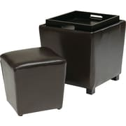 Office Star OSP Designs Eco Leather 2 Piece Ottoman Set, Espresso