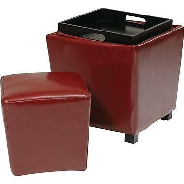 Office Star OSP Designs Eco Leather 2 Piece Ottoman Set, Red