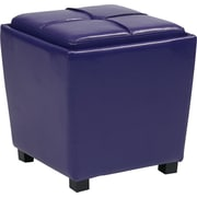 Office Star OSP Designs Vinyl 2 Piece Ottoman Set, Purple
