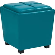 Office Star MET361V-PB7 Vinyl/Wood Ottoman, Blue
