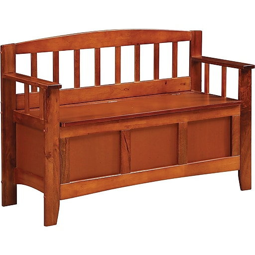 Office Star OSP Designs Solid Wood and Veneer Metro Entry Way Bench, Walnut