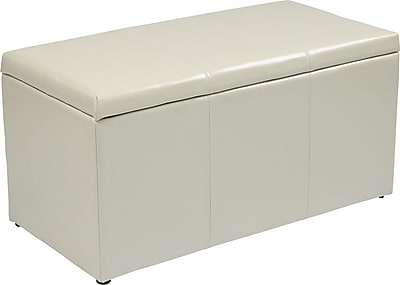 Office Star OSP Designs Eco Leather 3 Piece Ottoman Set, Cream