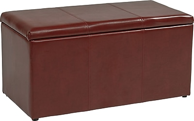 Office Star OSP Designs Eco Leather 3 Piece Ottoman Set, Red