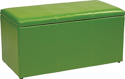 Office Star OSP Designs Vinyl 3 Piece Ottoman Set, Green