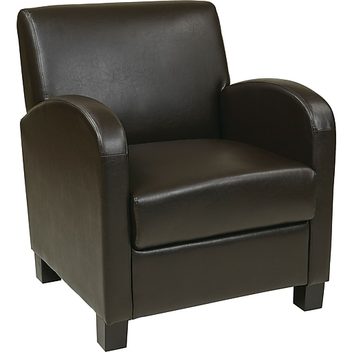 Office Star OSP Designs Eco Leather Club Chair With Espresso Legs, Espresso