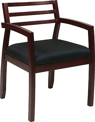Office Star OSP Designs Fabric Guest Chair With Wood Back, Napa Mahogany