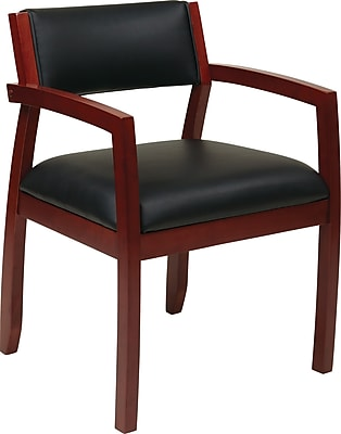 Office Star OSP Designs Eco Leather Guest Chair With Upholstered Back, Napa Cherry