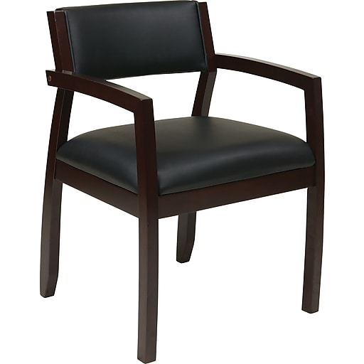 Office Star OSP Designs Eco Leather Guest Chair With Upholstered Back, Napa Espresso