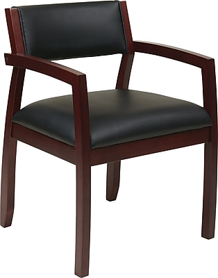 Office Star OSP Designs Eco Leather Guest Chair With Upholstered Back, Napa Mahogany