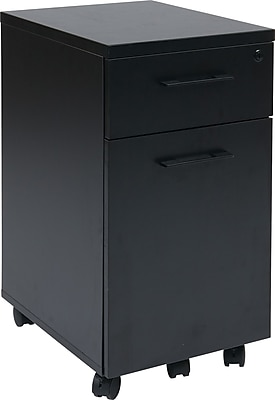 Office Star Pro-Line II™ Prado Laminate/Metal Pulls Mobile File Cabinet, Black
