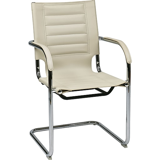 Office Star Ave Six® Vinyl Trinidad Tool-Less Assembly Guest Chair, Cream