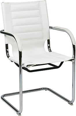 Office Star Ave Six® Vinyl Trinidad Tool-Less Assembly Guest Chair, White